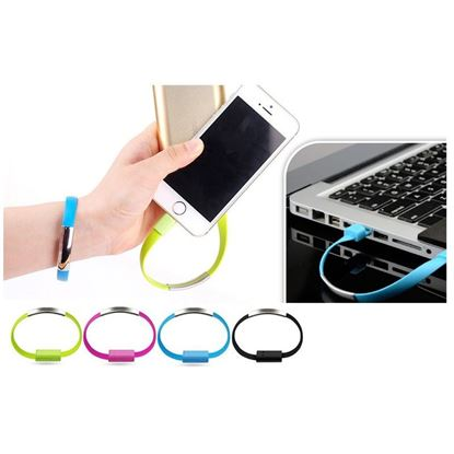 Obrázek USB náramek - nabíjecí a datový kabel micro USB - modrý
