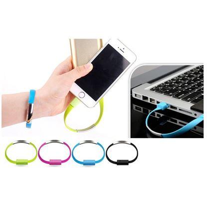 Obrázek USB náramek - nabíjecí a datový kabel micro USB - růžový